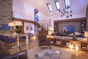 Voici le salon d'une villa moderne